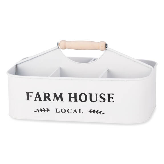 Panier rang. en métal Farmhouse blanc