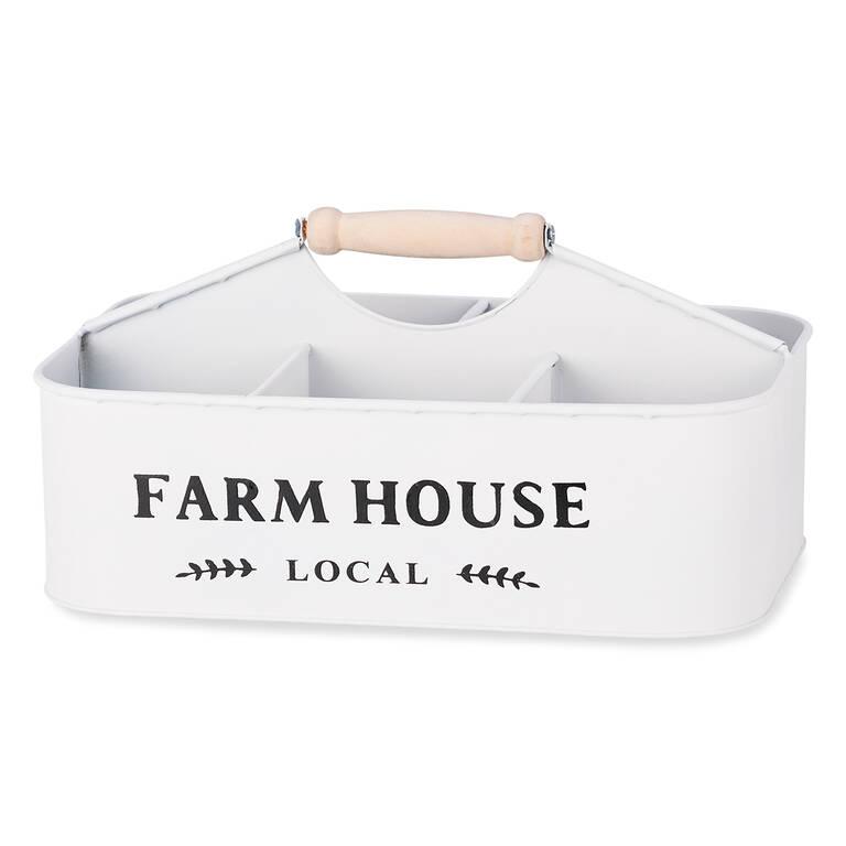 Farmhouse Storage Caddy White