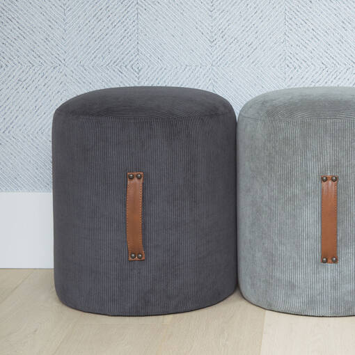 Carrie Ottoman -Sorrento Charcoal