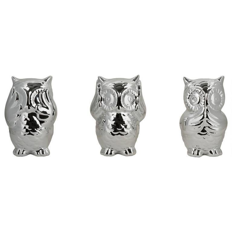 No Evil Owls Set Silver