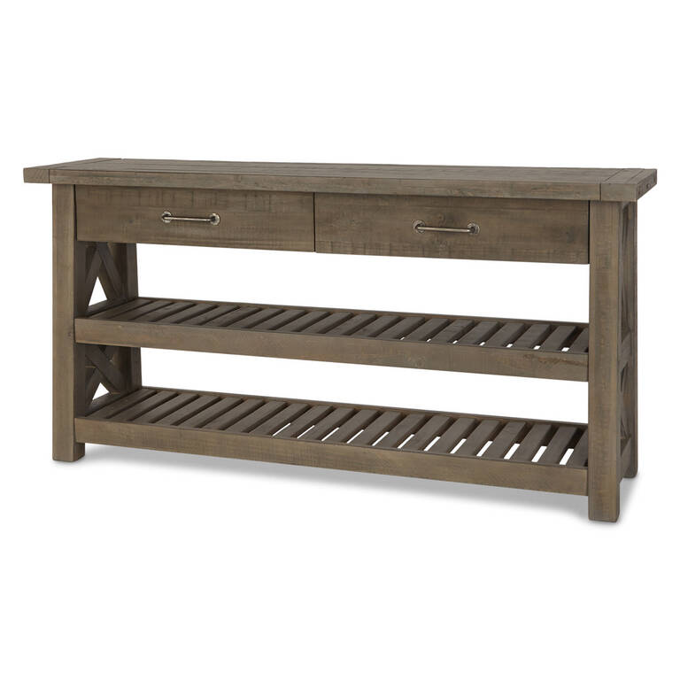 Ironside 2 Drawer Console -Rustic Grey