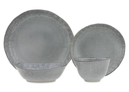 Crofton Glazed 16pc Dish Set Dark Grey
