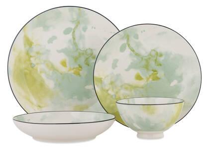 Watercolour 16pc Dish Set Green