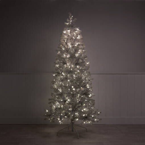 Claus Tree 7ft Pre Lit Led Ombre Grey