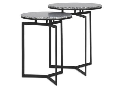 Malik Accent Table Set -Terrazzo Grey