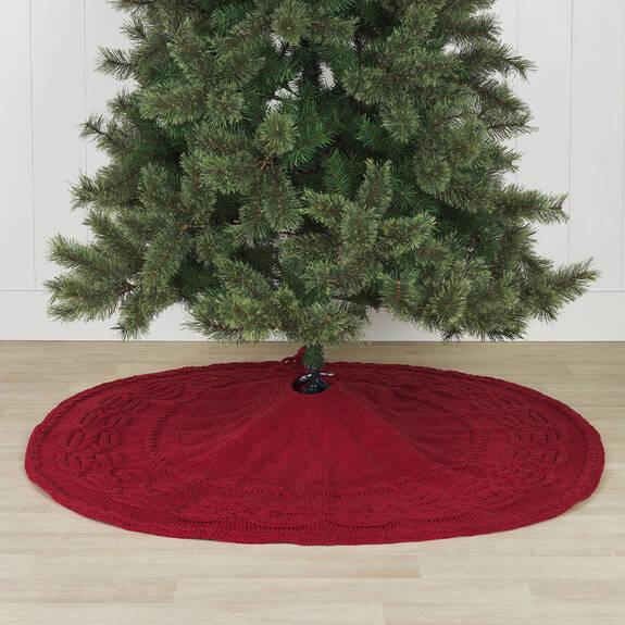Couvre-pied d'arbre tricoté Lottie rouge