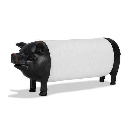 Pig Paper Towel Holder Black