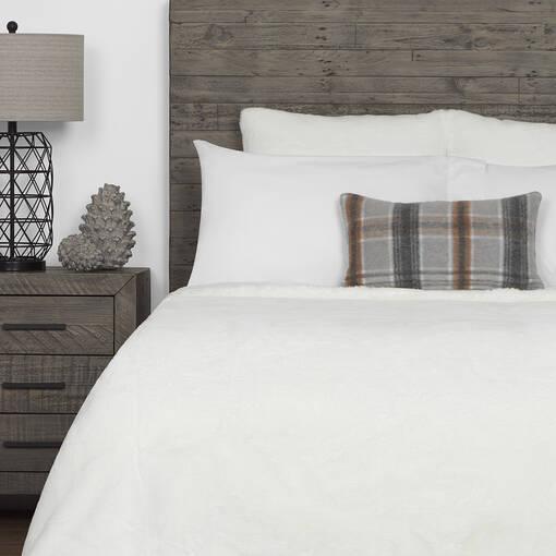 Flora Faux Fur Bedspread White