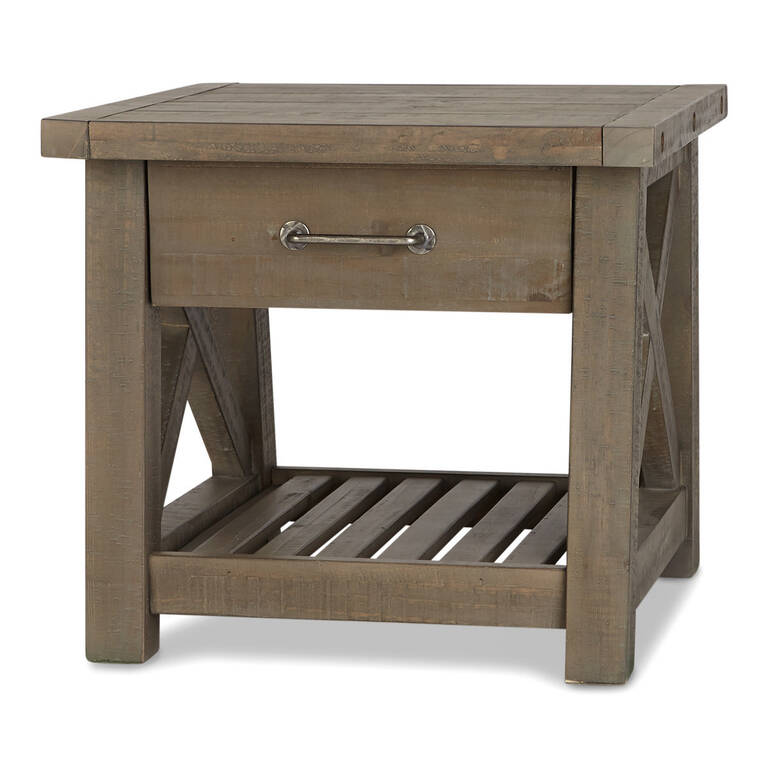 Ironside 1 Drawer Side Table-Rustic Grey