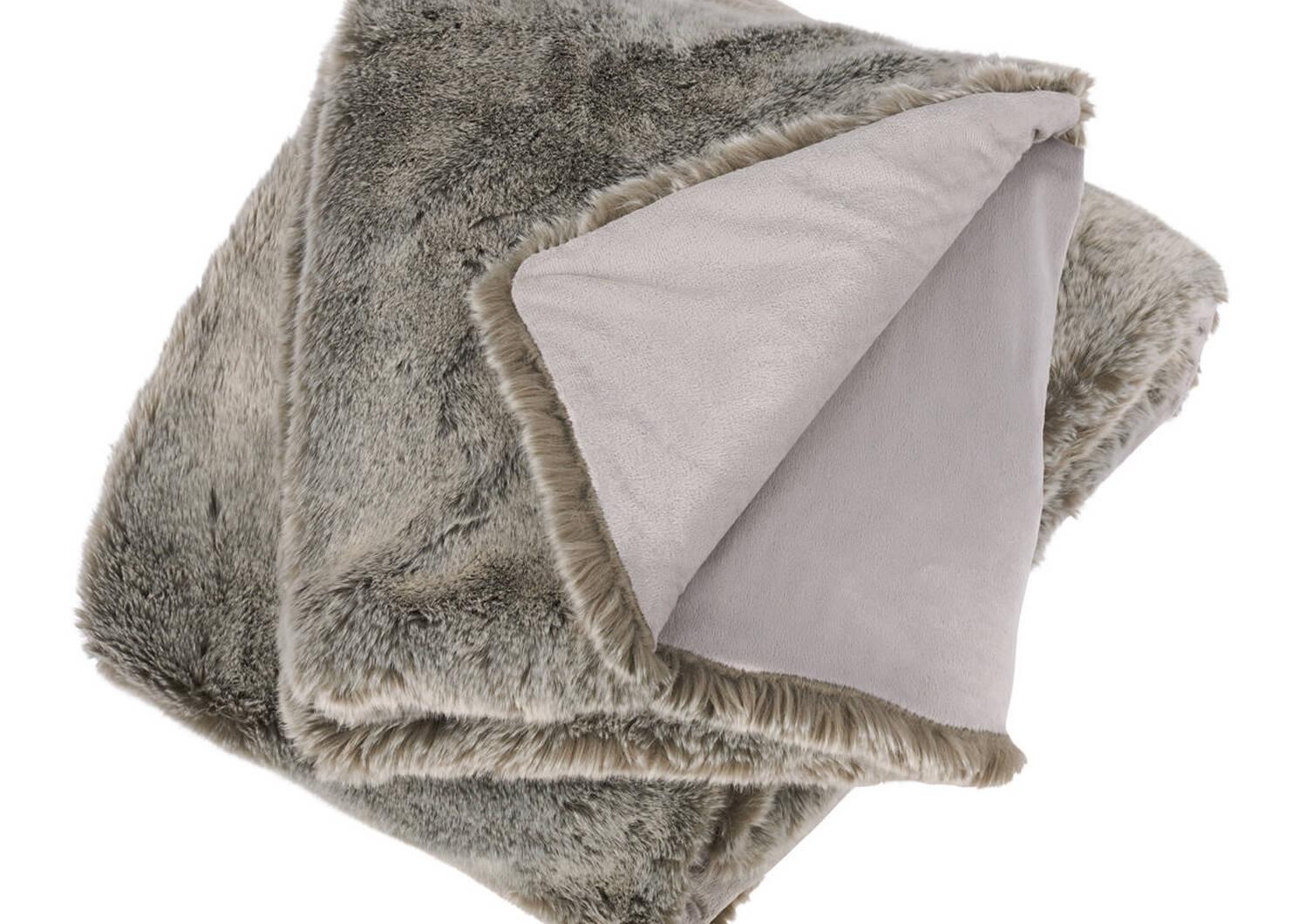 Fauna Faux Fur Throw Silverfox