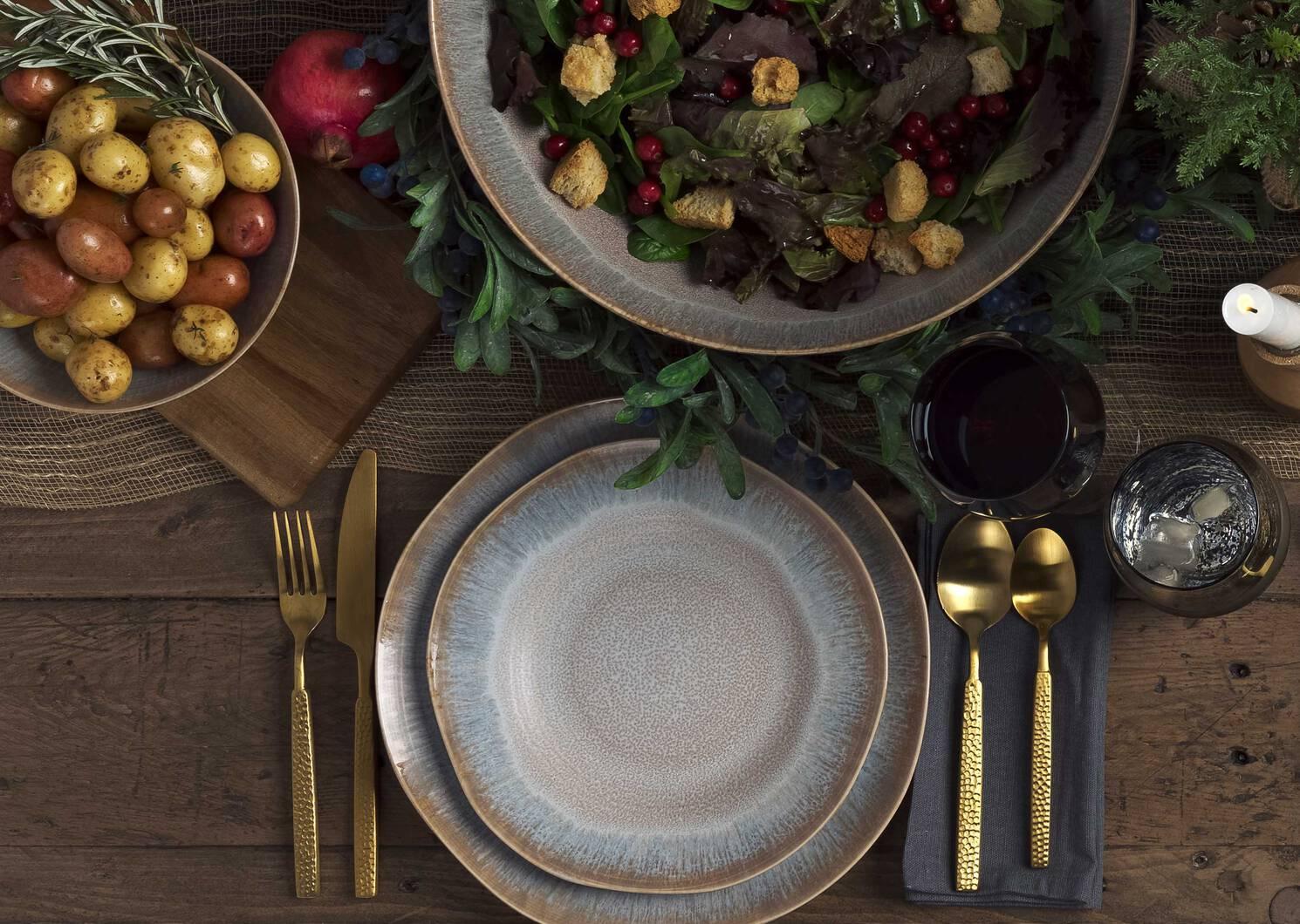 Hammered 5pc Cutlery Set Matte Brass