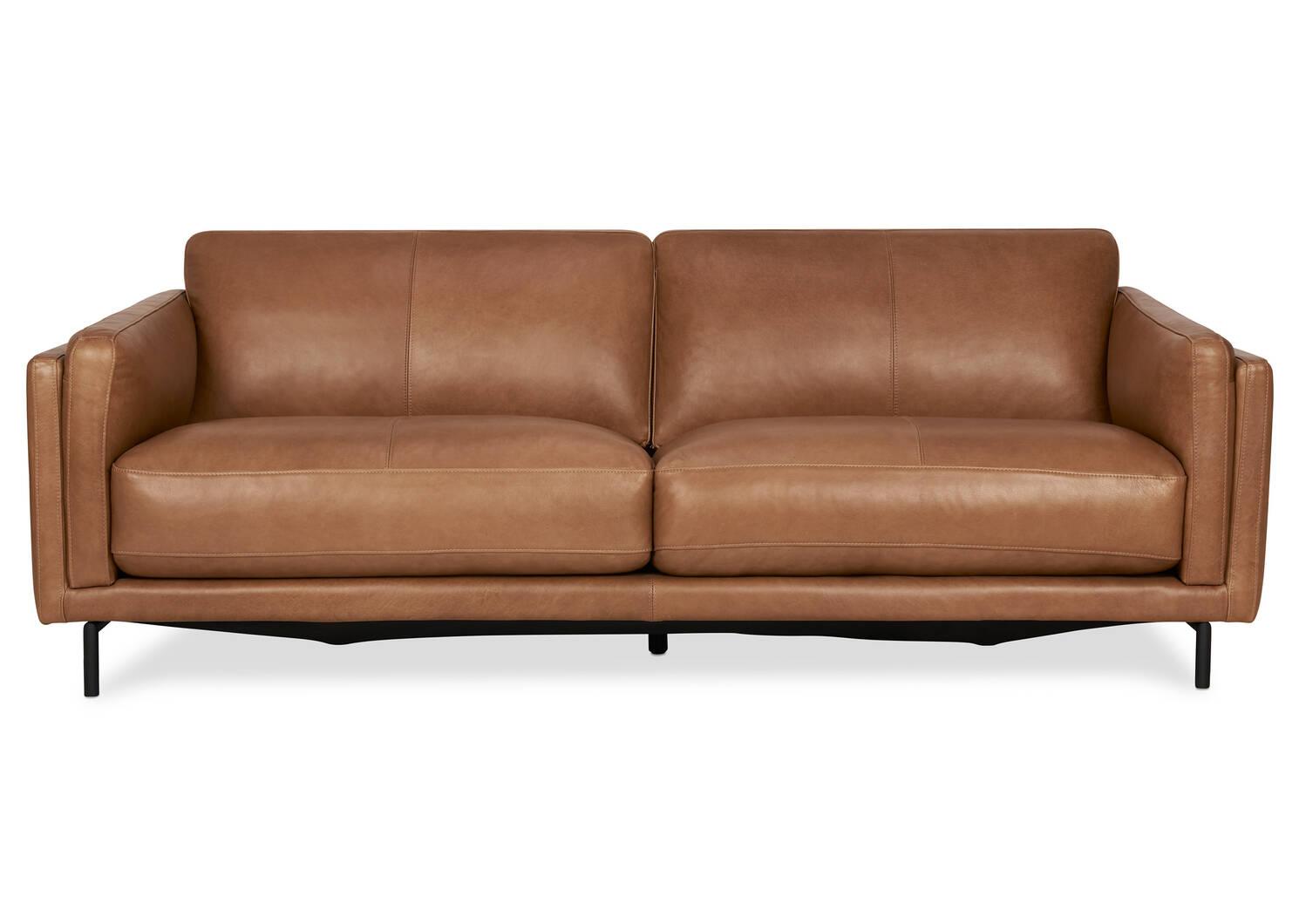 "Renfrew Leather Sofa 80"" -Adler Tan"