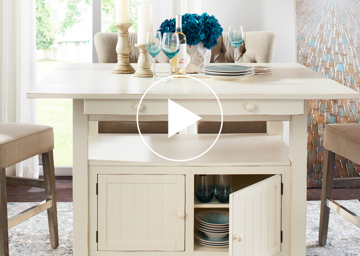 Cantina Ext Counter Table -Prairie White