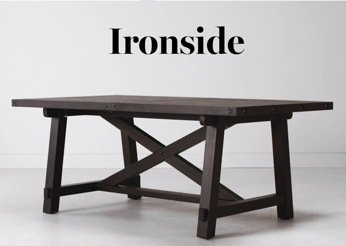 Table rect. rallonge Ironside -Khal café